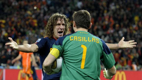 Spain's defender Carles Puyol celebrates