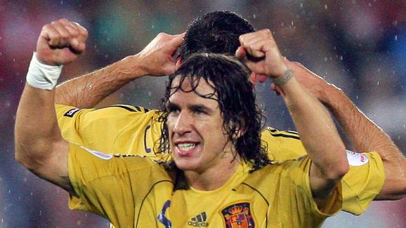 Spanish defender Carles Puyol celebrates