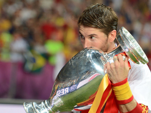 Spanish defender Sergio Ramos kisses the
