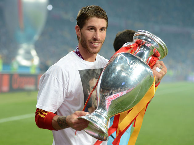 Spanish defender Sergio Ramos poses with
