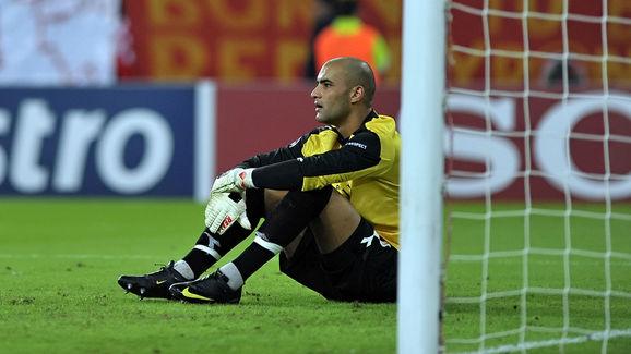 Standard Liege goalie Sinan Bolat reacts