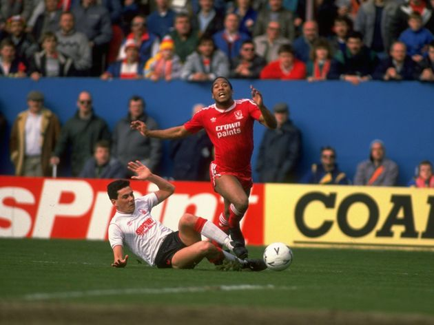 Steve Chettle of Nottingham Forest and  John Barnes of Liverpool