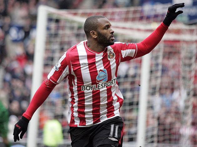 Sunderland's Darren Bent gestures toward