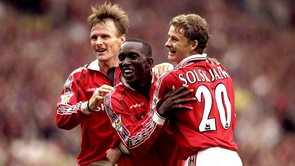 Teddy Sheringham, Dwight Yorke and Ole Gunnar Solskjaer of Manchester United