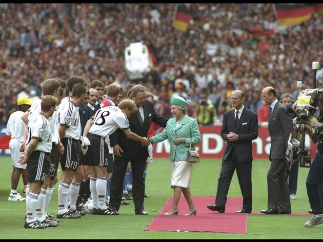 The Queen is introduced to Jurgen Klinsman of Germany