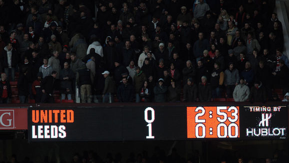 The scoreboard is seen after Manchester