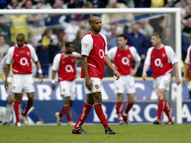 Thierry Henry of Arsenal looks dejected