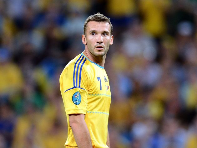 Ukrainian forward Andriy Shevchenko look