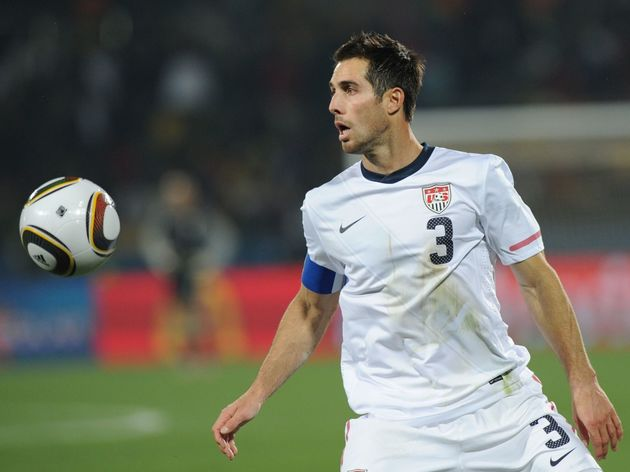 US defender Carlos Bocanegra eyes the ba