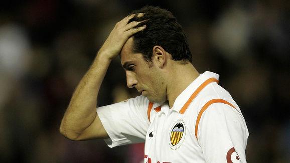 Valencia's Brazilian Edu reacts reacts d