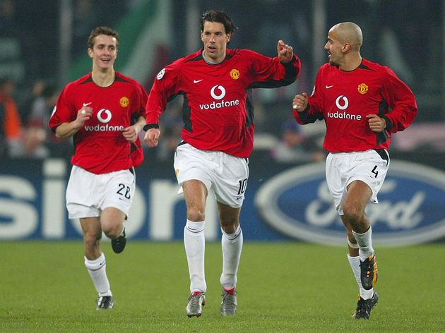 Van Nistelrooy of Man United celebrates scoring