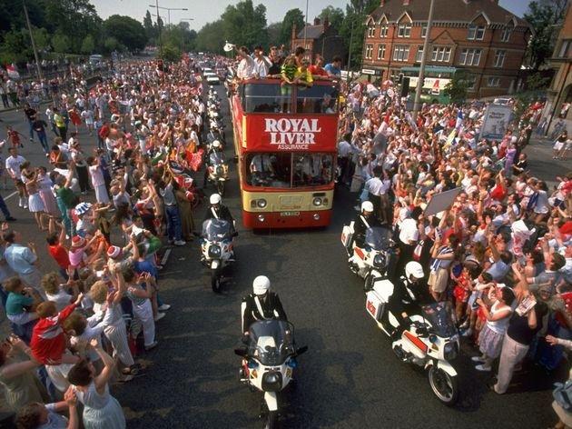 View of the Liverpool team bus