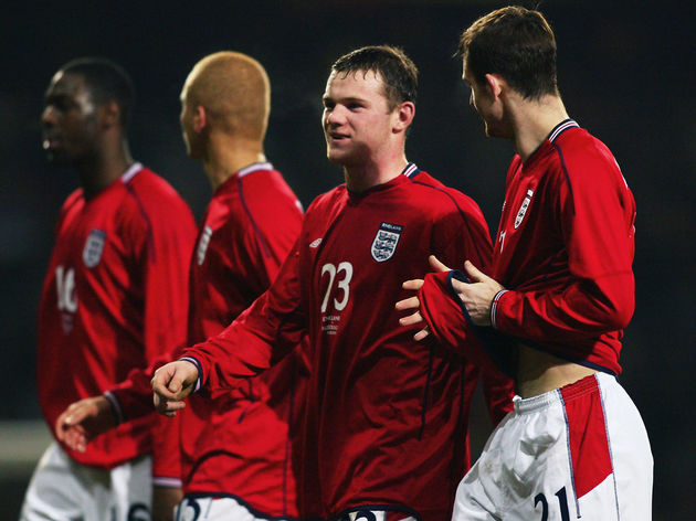 Wayne Rooney and Francis Jeffers of England
