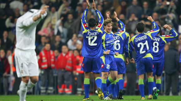 Zaragoza's players celebrate at the end