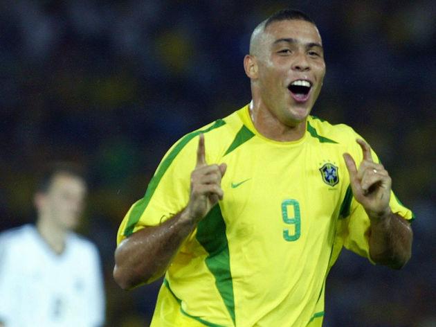 Brazilian forward Ronaldo celebrates aft