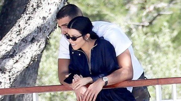Kourtney and Younes cuddling in Cannes