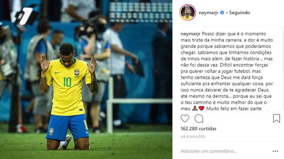 Neymar desabafa no Instagram: 'Momento mais triste da minha carreira'