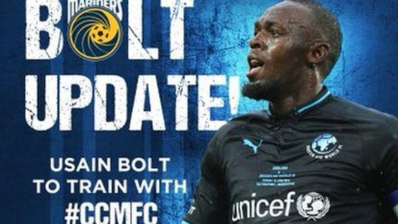 Usain Bolt sendo apresentado no Central Coast Mariners