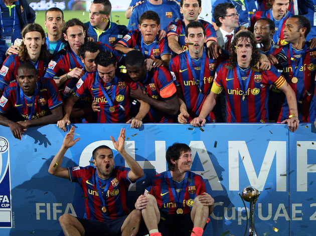Barcelona's players celebrate after beat