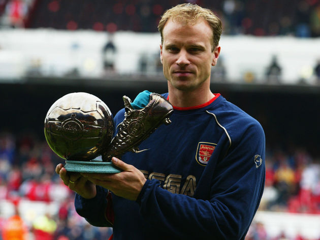 Dennis Bergkamp of Arsenal with the Goal of the Season award