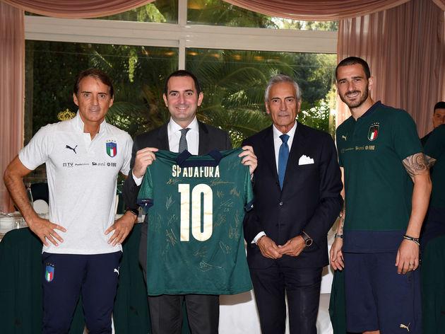Roberto Mancini,Vincenzo Spadafora,Gabriele Gravina,Leonardo Bonucci