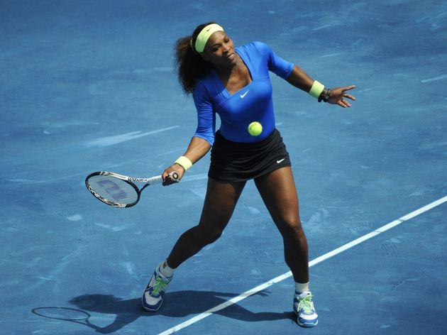 US Serena Williams returns a ball agains